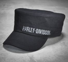 Harley-Davidson® Men's Black Embroidered Flat Top Cap 99461-10VM