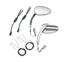 Harley-Davidson® Chrome Mirrors with Auxiliary Running Light and Directional Indicator 56000080