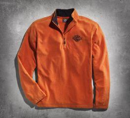 Harley-Davidson® Men's Orange 1/4-Zip Logo Fleece 99002-15VM