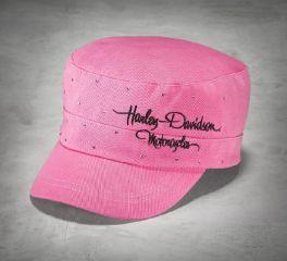 Harley-Davidson® Women's Pink Label Crystal Flat Top Cap 99544-16VW
