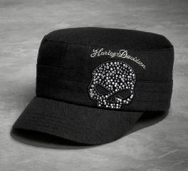 Harley-Davidson® Women's Black Crystal Skull Flat Top Cap 99556-16VW