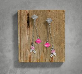 Harley-Davidson® Women's Pink Label Charm Drop Earrings 99564-17VW
