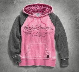 Harley-Davidson® Women's Pink Label Leopard Accent Hoodie 99129-17VW