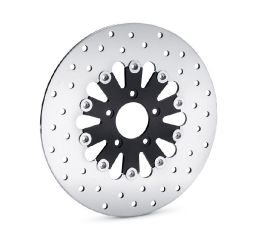 Harley-Davidson® Teardrop Floating Brake Rotor- Gloss Black Inner Spider with Polished Stainless Outer Rotor 41500047