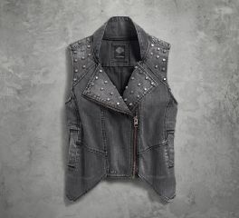 Harley-Davidson® Women's Studded Denim Biker Vest 96126-17VW