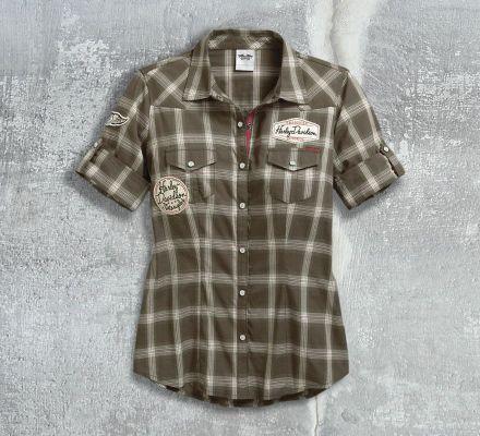 Harley-Davidson® Women's Multi-Patch Plaid Shirt 96077-17VW