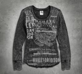 Harley-Davidson® Women's Mineral Wash Waffle Knit Shirt 96076-17VW