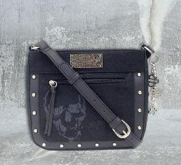 Harley-Davidson® Women's Black Skull Jacquard Crossbody Purse, Leather Accessory Source SJ4964J