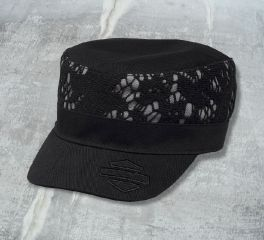 Harley-Davidson® Women's Crochet Lace Accent Flat Top Cap 97870-17VW
