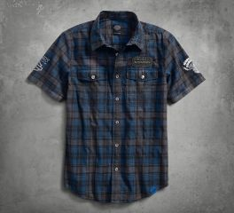 Harley-Davidson® Men's 115th Anniversary Plaid Washed Slim Fit Shirt 99003-18VM