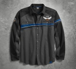 Harley-Davidson® Men's 115th Anniversary Performance Vented Chest Stripe Shirt 99008-18VM