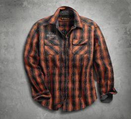 Harley-Davidson® Women's Oak Leaf Plaid Flannel Relaxed Fit Shirt 99036-18VW