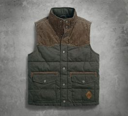 Harley-Davidson® Mens Slim Fit Canvas & Corduroy Green Vest 97447-18VM