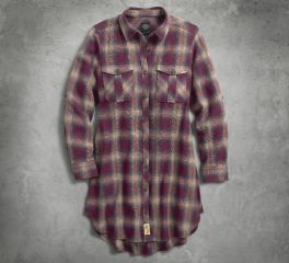 Women's Slim Fit Plaid Roll-Tab Sleeve Maroon Long Sleeve Woven Shirt Dress 96044-18VW