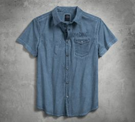 Harley-Davidson® Men's Blue Poplin Pocket Cold Dye Short Sleeve T-Shirt 96664-17VM