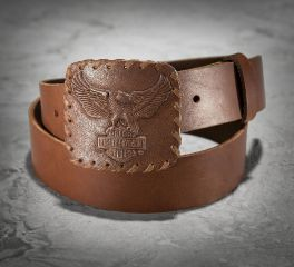 Harley-Davidson® Men's Vintage Distressed Eagle B&S Brown Leather Belt 97669-16VM