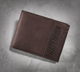 Harley-Davidson® Men's Leather and Canvas Brown Bi-Fold Wallet 97675-16VM