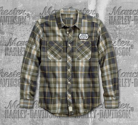 Harley-Davidson® Men's Plaid Lightning Bolt Slim Fit Long Sleeve Shirt 96165-18VM