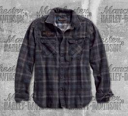 Harley-Davidson® Men's Tinted Printed Plaid Slim Fit Long Sleeve Shirt 96262-18VM