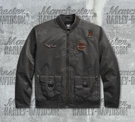 Harley-Davidson® Men's Asphalt Checkered Flag Eagle Bomber Jacket 97455-18VM