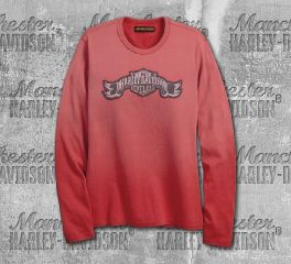 Harley-Davidson® Women's Garnet Rose Jersey Appliqué Long Sleeve Tee 99100-18VW