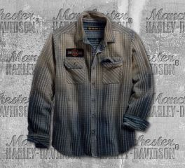 Harley-Davidson® Men's 1903 Schematic Plaid Slim Fit Long Sleeve Shirt 99097-18VM