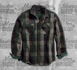 Harley-Davidson® Men's Appliqué Plaid Slim Fit Long Sleeve Shirt 99096-18VM
