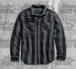 Harley-Davidson® Men's Eagle Plaid Slim Fit Long Sleeve Shirt 99095-18VM