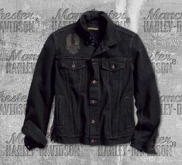 Harley-Davidson® Men's Black Eagle Appliqué Slim Fit Denim Jacket 98592-18VM