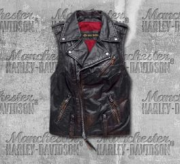 Harley-Davidson® Women's Black Swingarm Leather Biker Vest 98035-18VW