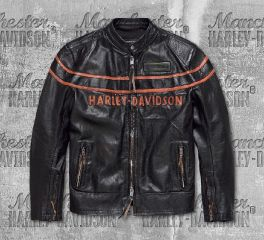 Harley-Davidson® Men's Black Double Ton Slim Fit Leather Jacket 98033-18VM