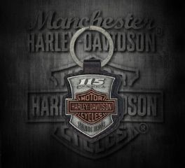 Harley-Davidson® 115th Anniversary 2D Die Struck Keychain, Antique Finish, Global Products, Inc. KY26023