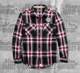 Harley-Davidson® Men's HDMC™ Slim Fit Plaid Long Sleeve Shirt 99082-18VM