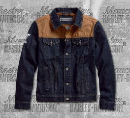 Harley-Davidson® Men's Waxed Canvas Slim Fit Denim Jacket 98588-18VM