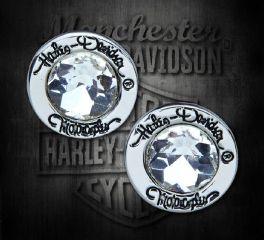 Harley-Davidson® Women's Silver Rhinestone Stud Earrings 99442-18VW