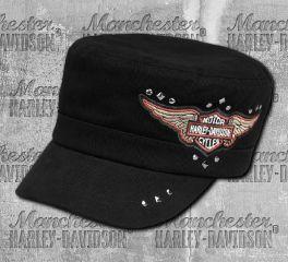 Harley-Davidson® Women's Black Winged Logo Flat Top Cap 99441-18VW