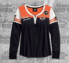 Harley-Davidson® Women's Black Classic Colourblock Henley Long Sleeve Tee 99075-18VW