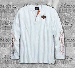 Harley-Davidson® Men's White Pinstripe Flames Henley Long Sleeve Tee 99020-18VM