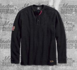 Harley-Davidson® Men's Black No. 1 Genuine Classics Henley 99021-18VM
