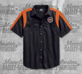 Harley-Davidson® Men's Black Genuine Oil Can Colourblock Shirt 99066-18VM