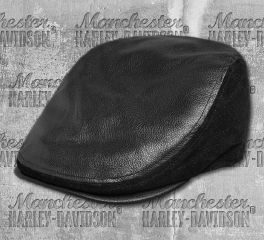 Harley-Davidson® Men's Black Logo Leather Ivy Cap 99432-18VM