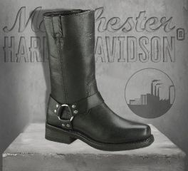 Harley-Davidson® Men's Hustin Leather Waterproof Boots - Black, Wolverine D97007