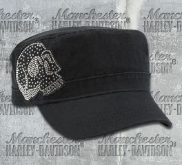 Harley-Davidson® Women's Krystal Skull Washed Black Cotton Painters Cap, Global Products, Inc. PC26530