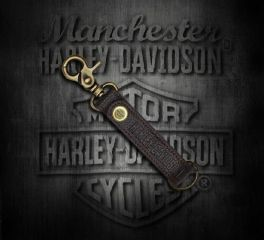 Harley-Davidson® Brown Leather Brass Clasp and Button Keychain, Global Products, Inc. KY51668