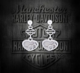 Harley-Davidson® Women's Mother of Pearl Filigree Heart Post Earrings, MOD Jewelry Group Inc. HDE0410