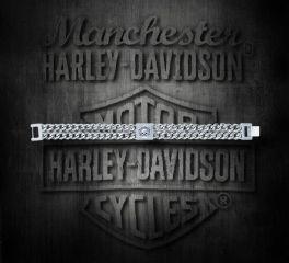 Harley-Davidson® Men's Steel Skull Double Curb Link Bracelet, MOD Jewelry Group Inc. HSB0141