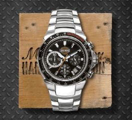 Harley-Davidson® Men's Stainless Steel Black Dial Chronograph Watch, Bulova UK Ltd. 78B113