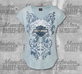 Harley-Davidson® Women's Airy Frills Short Sleeve Tee, RK Stratman Inc. R002766