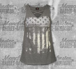 Harley-Davidson® Women's Gray Patriotic Stars & Stripes Tank Top, RK Stratman Inc. R002762