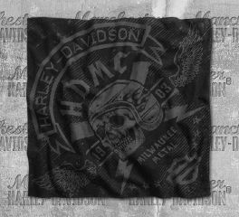 Harley-Davidson® Men's Skull Lightning Black Cotton Bandana 97708-18VM